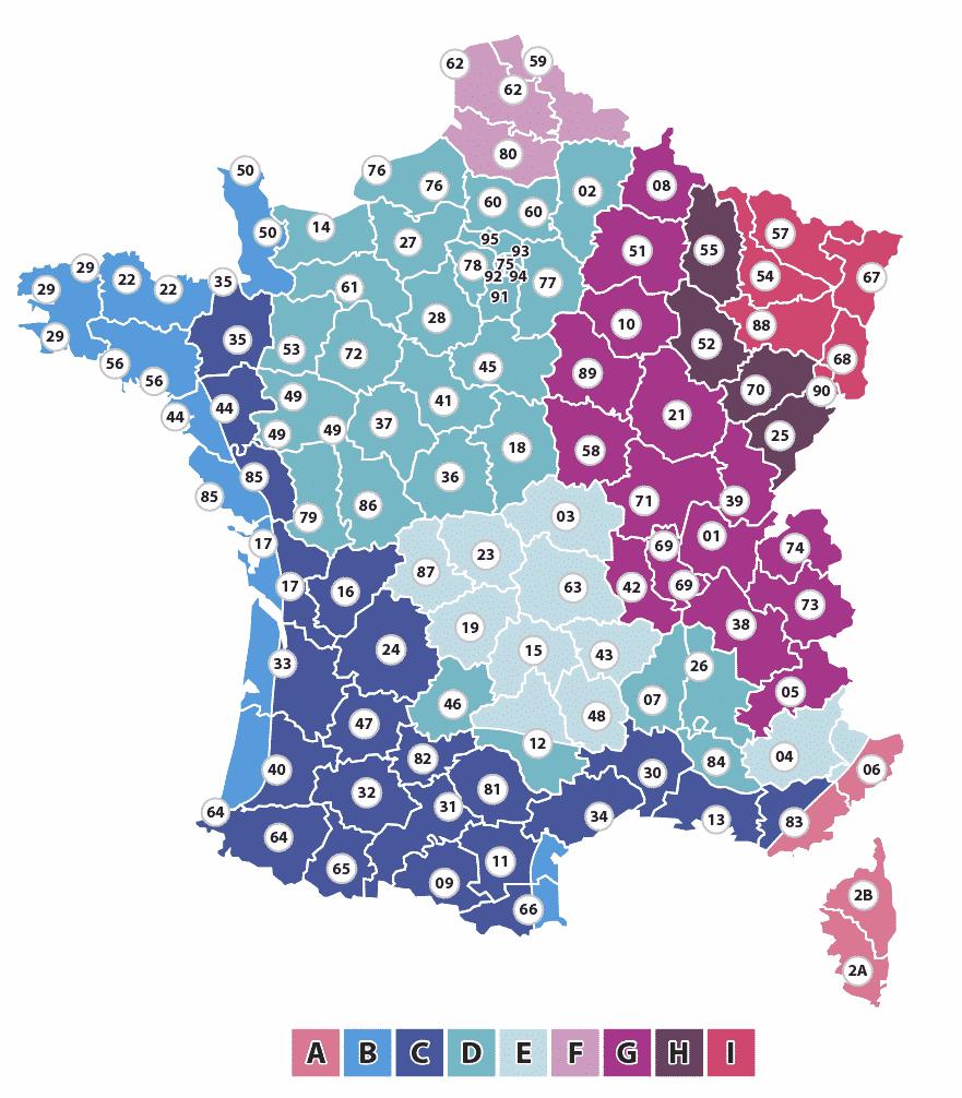 carte températures de base france
